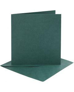 Kort och kuvert, kortstl. 15,2x15,2 cm, kuvertstl. 16x16 cm, 230 g, mörkgrön, 4 set/ 1 förp.