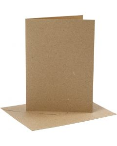 Kort och kuvert, kortstl. 12,7x17,8 cm, kuvertstl. 13,3x18,5 cm, 230 g, natur, 4 set/ 1 förp.