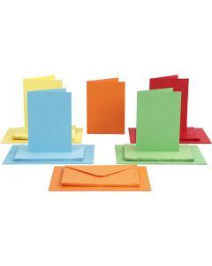 Kort och kuvert, kortstl. 10,5x15 cm, kuvertstl. 11,5x16,5 cm, 110+220 g, mixade färger, 50 set/ 1 förp.