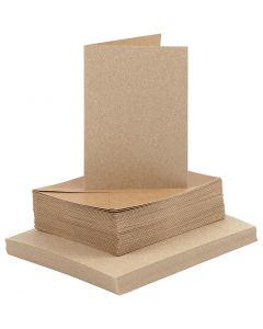 Kort och kuvert, kortstl. 10,5x15 cm, kuvertstl. 11,5x16,5 cm, natur, 50 set/ 1 förp.