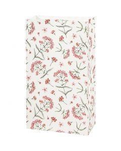 Papperspåsar, blommor, H: 21 cm, stl. 6x12 cm, 80 g, 8 st./ 1 förp.