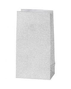 Papperspåsar, H: 17 cm, stl. 6x9 cm, 120 g, silver, 8 st./ 1 förp.