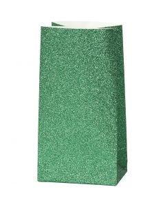 Papperspåsar, H: 17 cm, stl. 6x9 cm, 150 g, grön, 8 st./ 1 förp.