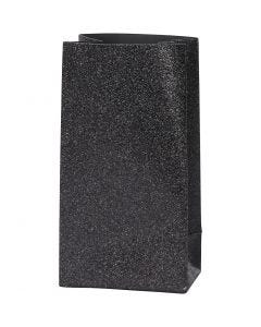 Papperspåsar, H: 17 cm, stl. 6x9 cm, 170 g, svart, 8 st./ 1 förp.
