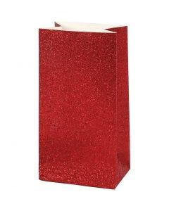 Papperspåsar, H: 17 cm, stl. 6x9 cm, 200 g, röd, 8 st./ 1 förp.