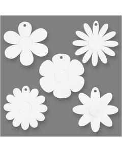 Blommor, Dia. 20 cm, 400 g, vit, 5x3 st./ 1 förp.