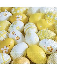 Servetter, målade ägg, stl. 33x33 cm, 20 st./ 1 förp.