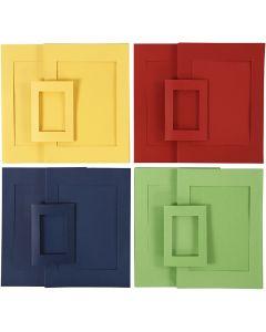 Passepartoutramar, stl. A4+A6 , blå, grön, röd, gul, 2x60 st./ 1 förp.