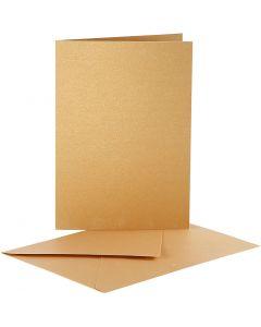Pärlemorskort, kortstl. 10,5x15 cm, kuvertstl. 11,5x16,5 cm, guld, 10 set/ 1 förp.