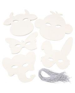 Djurmasker, H: 13-24 cm, B: 20-28 cm, 230 g, vit, 100 st./ 1 förp.