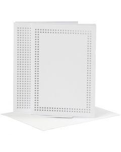 Kort till broderi, kortstl. 10,5x15 cm, kuvertstl. 11,5x16,5 cm, vit, 6 st./ 1 förp.