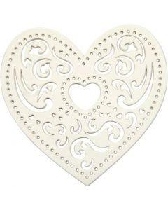 Filigranhjärta, B: 7,5 cm, 250 g, vit, 18 st./ 1 förp.