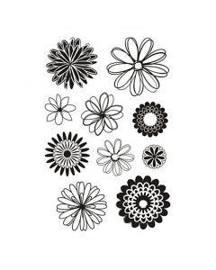 Clear Stamps, blommor, 11x15,5 cm, 1 ark
