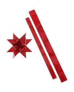 Stjärnstrimlor, L: 86+100 cm, Dia. 11,5+18,5 cm, B: 25+40 mm, röd, röd, 16 strimlor/ 1 förp.