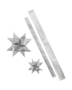 Stjärnstrimlor, L: 86+100 cm, Dia. 11,5+18,5 cm, B: 25+40 mm, silverglitter, 16 strimlor/ 1 förp.
