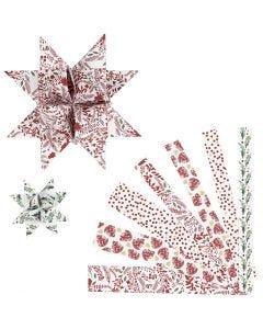 Stjärnstrimlor, L: 44+78 cm, Dia. 6,5+11,5 cm, B: 15+25 mm, röd, vit, 48 strimlor/ 1 förp.