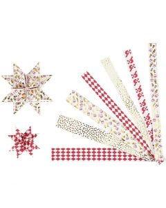 Stjärnstrimlor, L: 44+78 cm, Dia. 6,5+11,5 cm, B: 15x25 mm, guld, röd, vit, 48 strimlor/ 1 förp.