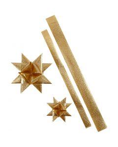 Stjärnstrimlor, L: 86+100 cm, Dia. 11,5+18,5 cm, B: 25+40 mm, guld, 16 strimlor/ 1 förp.