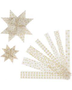 Stjärnstrimlor, L: 44+78 cm, Dia. 6,5+11,5 cm, B: 15+25 mm, guld, vit, 48 strimlor/ 1 förp.
