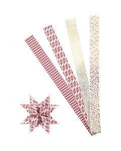 Stjärnstrimlor, L: 100 cm, Dia. 18 cm, B: 40 mm, guld, röd, vit, 40 strimlor/ 1 förp.