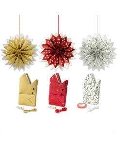 Stjärna av papperspåsar, guld, grön, röd, vit, 3x10 förp./ 1 förp.
