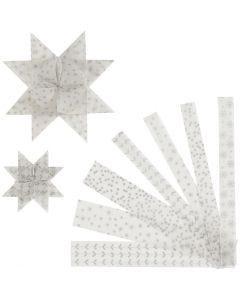 Stjärnstrimlor, L: 44+78 cm, Dia. 6,5+11,5 cm, B: 15+25 mm, silver, vit, 48 strimlor/ 1 förp.
