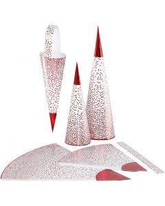 Strutar, H: 18+28 cm, 120 g, röd, vit, 3 st./ 1 förp.