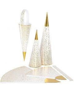 Strutar, H: 18+28 cm, 120 g, guld, vit, 3 st./ 1 förp.
