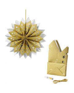 Stjärna av papperspåsar, 170 g, guld, 1 set