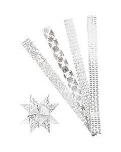 Stjärnstrimlor, L: 100 cm, Dia. 18 cm, B: 40 mm, silver, vit, 40 strimlor/ 1 förp.