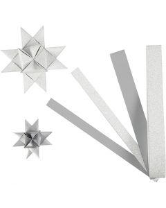 Stjärnstrimlor, L: 44+78 cm, Dia. 6,5+11,5 cm, B: 15+25 mm, glitter,lack, silver, 40 strimlor/ 1 förp.