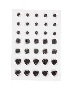 Rhinestones, (rund, fyrkant, hjärta), stl. 6+8+10 mm, svart, 35 st./ 1 förp.