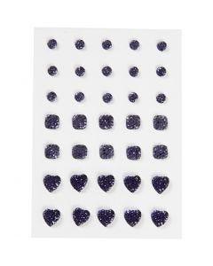 Rhinestones, (rund, fyrkant, hjärta), stl. 6+8+10 mm, blå, 35 st./ 1 förp.