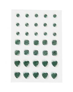 Rhinestones, (rund, fyrkant, hjärta), stl. 6+8+10 mm, grön, 35 st./ 1 förp.