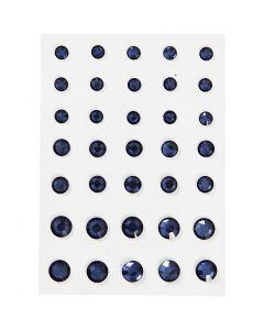 Rhinestones, rund kägla, stl. 6+8+10 mm, blå, 35 st./ 1 förp.