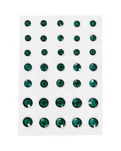 Rhinestones, rund kägla, stl. 6+8+10 mm, grön, 35 st./ 1 förp.