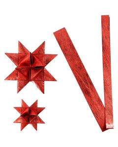 Stjärnstrimlor, L: 44+78 cm, Dia. 6,5+11,5 cm, B: 15+25 mm, röd, 32 strimlor/ 1 förp.