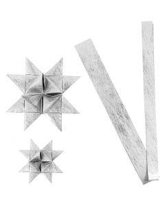 Stjärnstrimlor, L: 44+78 cm, Dia. 6,5+11,5 cm, B: 15+25 mm, silver, 32 strimlor/ 1 förp.