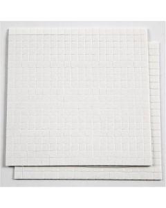 Fästkuddar 3D, stl. 5x5 mm, tjocklek 1 mm, vit, 2 ark/ 1 förp., 2x400 st.