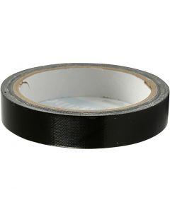 Textiltejp, B: 19 mm, svart, 25 m/ 1 rl.