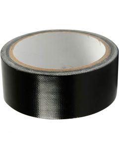 Textiltejp, B: 38 mm, svart, 25 m/ 1 rl.