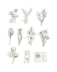 Washi stickers, svart/vita blommor, stl. 30-50 mm, 30 st./ 1 förp.