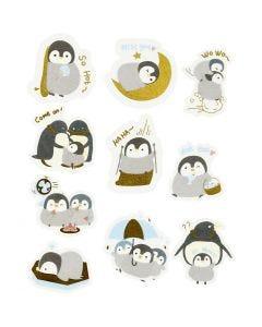 Washi stickers, pingviner, stl. 40-53 mm, 30 st./ 1 förp.