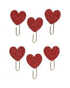 Gem, hjärta, Dia. 30 mm, röd, 6 st./ 1 förp.