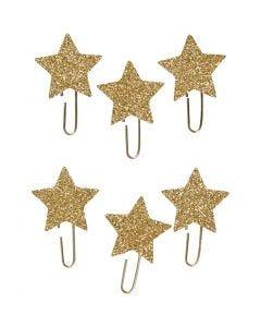Gem, stjärna, Dia. 30 mm, guld, 6 st./ 1 förp.