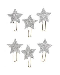 Gem, stjärna, Dia. 30 mm, silverglitter, 6 st./ 1 förp.