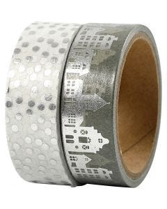 Washitejp, hus och prickar - folie, B: 15 mm, silver, 2x4 m/ 1 förp.