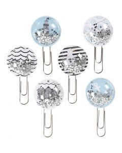 Shaker clips, L: 49 mm, Dia. 25 mm, svart, blå, grå, vit, 6 st./ 1 förp.