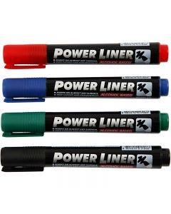 Power Liner, svart, blå, grön, röd, 4 st./ 1 förp.