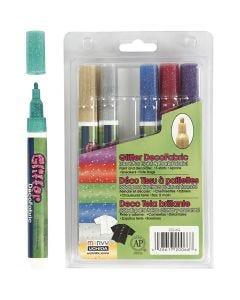 Deco textilpennor, glitter, spets 3 mm, glitter färger, 6 st./ 1 förp.